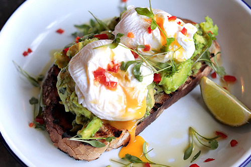 Avocado and Eggs at Farmhouse Restaurant Essex